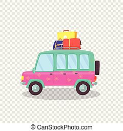 Modern Car with Spacious Trunk and Luggage. Voyage - Pink,...