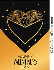 Modern card Valentines Day. Vector image in classic art deco retro style. Can be used for web design, printed products, posters and greeting cards.