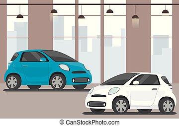 Modern cars in showroom,flat interior,