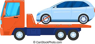 Modern cars, tow trucks, special vehicles for automobile transportation, cartoon style vector illustration, isolated on white.