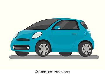 Modern cartoon blue compact car