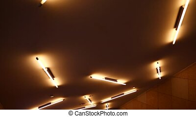 Modern ceiling with fluorescent light - Bottom view of...
