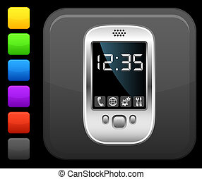 modern cell phone icon on square internet button