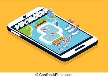 Modern Cell Smart Phone Screen Swimming Pool Summer Vacation 3d Isometric Design