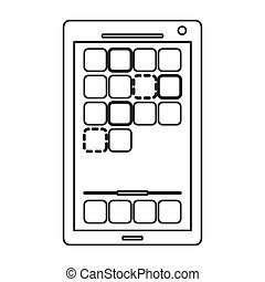 modern cellphone with squares on screen icon line design