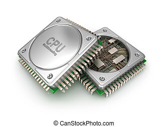 Modern central computer processors CPU isolated on white background