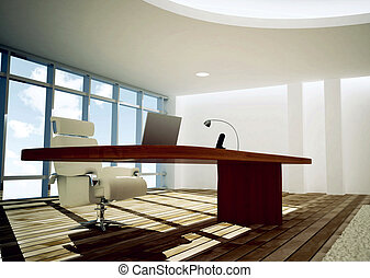 Modern CEO Office - 3d rendered illustration of modern and...