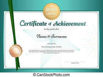 modern certificate of achievement template in environment theme with abstract green flower watermark background