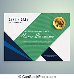 modern certificate of appreciation template with geometric shapes