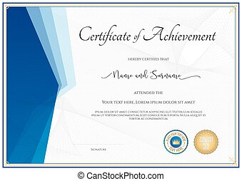 certificate template in vector for achievement graduation clip