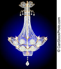 modern chandelier with crystal pendants on a blue -...