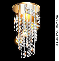 modern chandelier with crystal pendants on the black -...