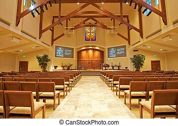 Modern Chapel - Modern Church Sanctuary waiting for...