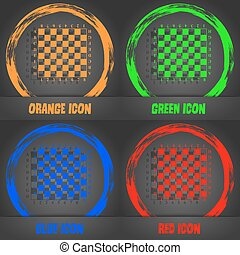 Modern Chess board icon. Fashionable modern style. In the orange, green, blue, red design. Vector