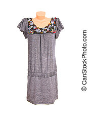 Modern chic gray dress on a white.