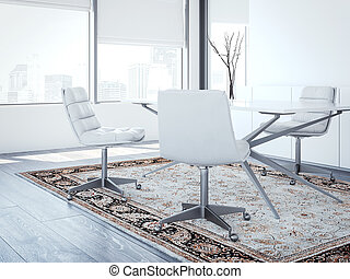Modern chief's office with white chairs. 3d rendering -...