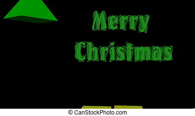 Modern christmas animation, 3d christmas tree composed of pyramids, animated title Merry christmas and anmated gift boxes