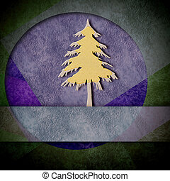 Modern christmas card, gold and silver fir