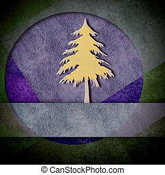 Modern christmas card, gold and silver fir