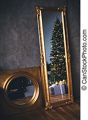 Modern Christmas interior. Decorated festive home.