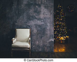 Modern Christmas interior. Decorated holiday home.