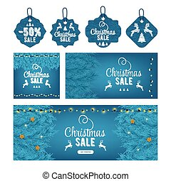 Modern christmas sale decor set, great design for any purposes. Christmas tree and light. Concept event advertising. Shopping concept. Color art. Sale banner layout design. Card, banner, tag, label.