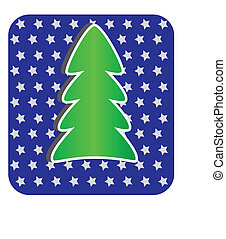Modern Christmas Tree on blue background