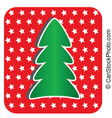 Modern Christmas Tree on red background,
