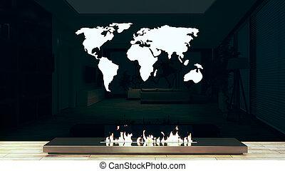 Modern chrome fireplace design idea with world map 3D rendering