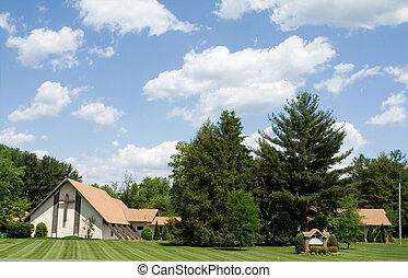 Modern Church A Frame Roof, Lawn, Trees, Blue Sky