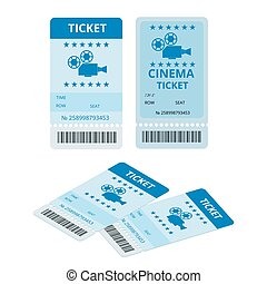 Modern cinema  tickets isolated on write background. Entertainment Tickets.  Icon for online booking of tickets. Modern element design cinema ticket.
