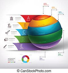 Modern circle ball 3d staircase diagram business. Vector...
