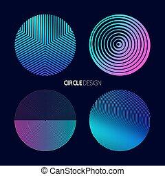 Modern circle design set with geometry designs