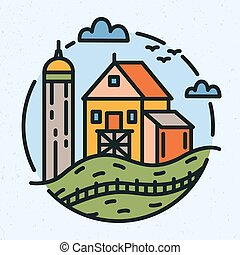 Modern circular logo with rural landscape and farm building or barn drawn in line art style. Round logotype with farmland isolated on light background. Creative colorful vector illustration.