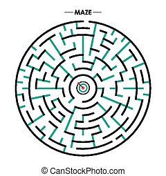 modern circular maze with dartboard element over white...