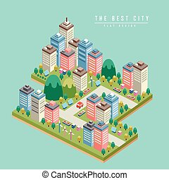 modern city 3d isometric infographic