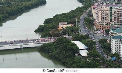Modern city aerial - Crossroad traffics in modern oriental...