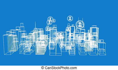 Modern city and global communication graphic - Animation of ...
