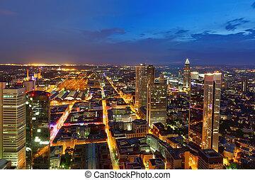 Modern city at night, Frankfurt am Main