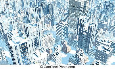 Modern city at snowfall winter day aerial view