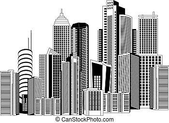 Modern city - Black and white illustration of a modern city