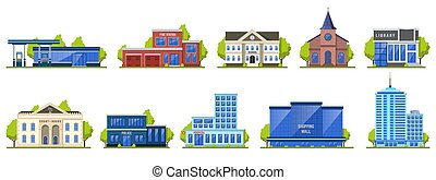 Modern city building. Public contemporary shopping center exterior, school facade, hotel and fire station isolated vector illustration icons set