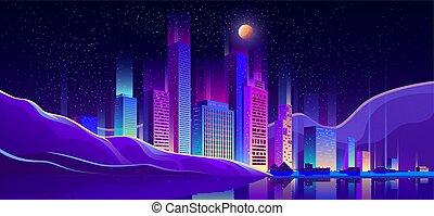 Modern city buildings on seashore cartoon vector