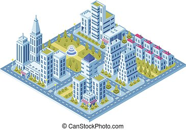 Modern city buildings, police station, road with cars and supermarket building. Town lofts apartments vector 3d isometric set