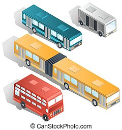Modern city buses isometric vectors collection - Set of...