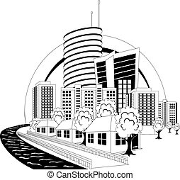 Modern city - Black and white illustration of a modern city