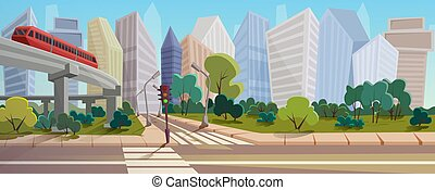Modern city crossroad cartoon landscape vector illustration background concept