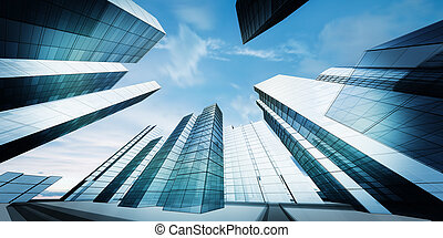 Modern city downtown