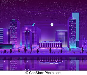 Modern city downtown cityscape cartoon vector