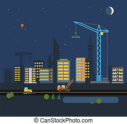 Modern city flat design illustration